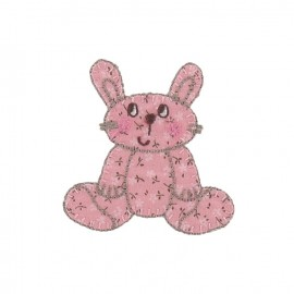 Cuddly toy rabbit iron-on applique - pink