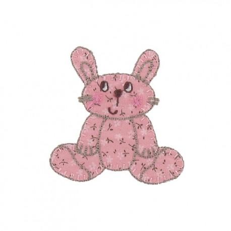 Cuddly toy rabbit iron-on applique - pink