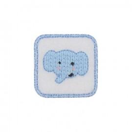 ♥ Thermocollant Tête d'éléphanteau bleu ciel ♥