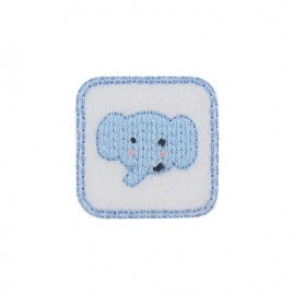 Elephant calf iron-on applique - sky blue