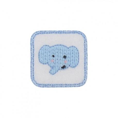 Thermocollant Tête d'éléphanteau bleu ciel