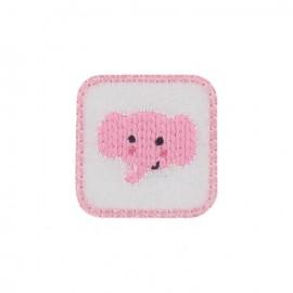 Elephant calf iron-on applique - pink