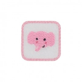 Elephant calf iron-on applique - pink