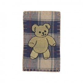 Scottish teddy bear iron-on applique - multicolored