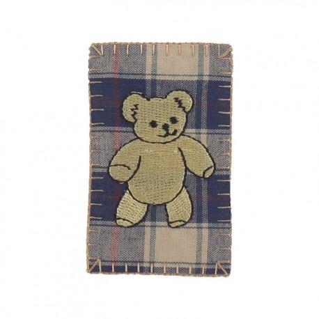 Scottish teddy bear iron-on applique - multicolored