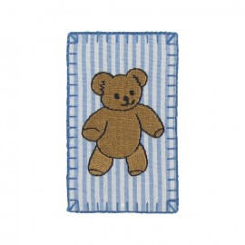 Stripped teddy bear iron-on applique - sky blue