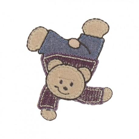Acrobat teddy bear iron-on applique - multicolored