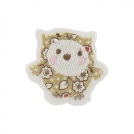 ♥ Baby owl iron-on applique - beige ♥