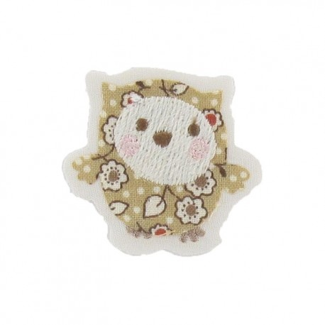 Baby owl iron-on applique - beige