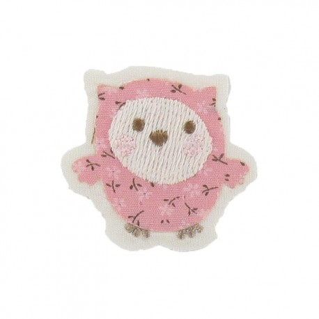 Baby owl iron-on applique - pink