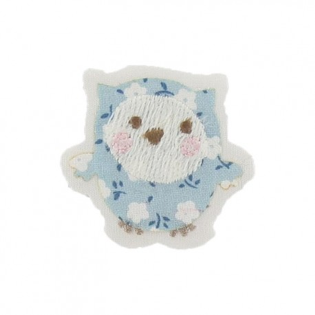 Baby owl iron-on applique - sky blue