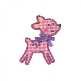 Gingham hind iron-on applique - pink