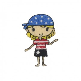 Pirate girl iron-on applique - blue/yellow