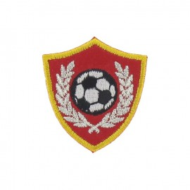 Soccer badge iron-on applique - red