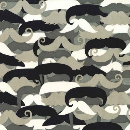 Fabric Mustachioed man - Neutral x 10cm