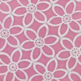 ♥ Coupon 230 cm X 130 cm ♥  Tissu Organza Fleurs brodées blanc