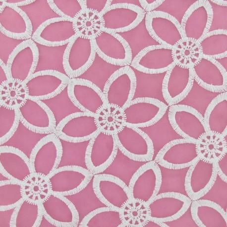 Tissu Organza Fleurs brodées blanc x 10cm
