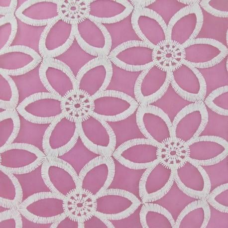 Embroidered Flowers Organza Fabric - Ecru x 10cm