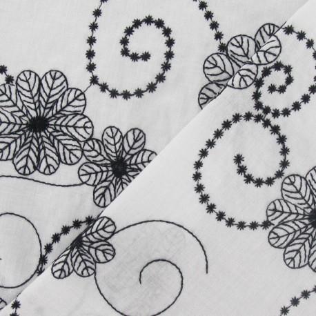 Fabric voile de coton brodé Fleurs noir et blanc x 10cm