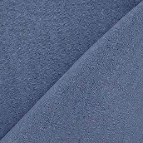 Tissu lin bleu barbeau x 10cm