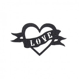 "Spangled Heart ""Love"" iron-on applique - black"