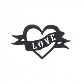"""Thermo Cœur """"love"""" paillette noire"""