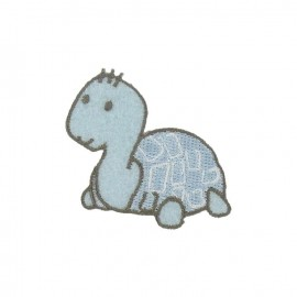 Baby turtle iron-on applique - sky blue