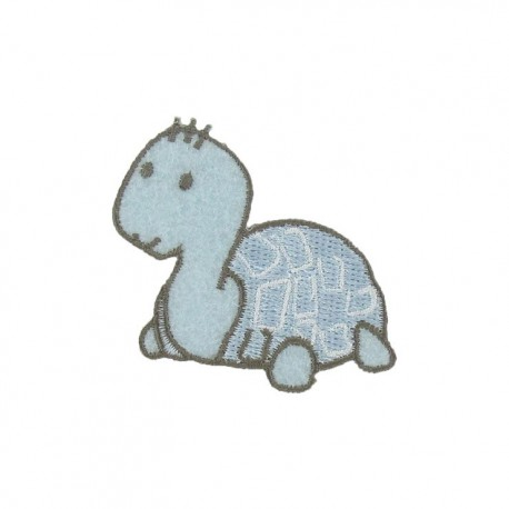 Baby turtle iron-on applique - sky blue