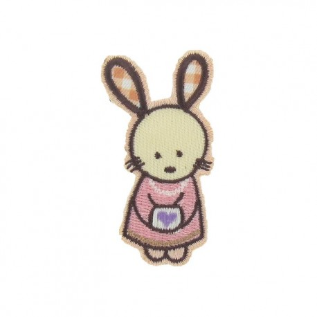 Cute rabbit female iron-on applique - multicolored