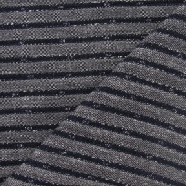 Tissu lin rayure métallisé marine x 10cm