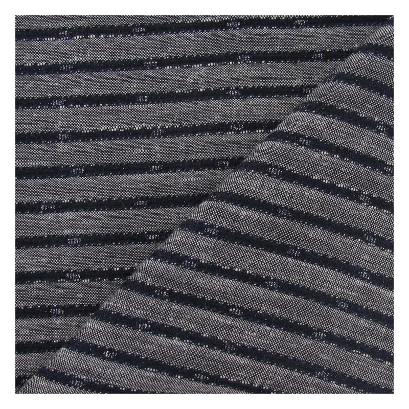 tissus pas cher tissu lin rayure m tallis e marine. Black Bedroom Furniture Sets. Home Design Ideas
