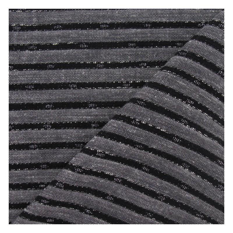 tissus pas cher tissu lin rayure m tallis e noir. Black Bedroom Furniture Sets. Home Design Ideas