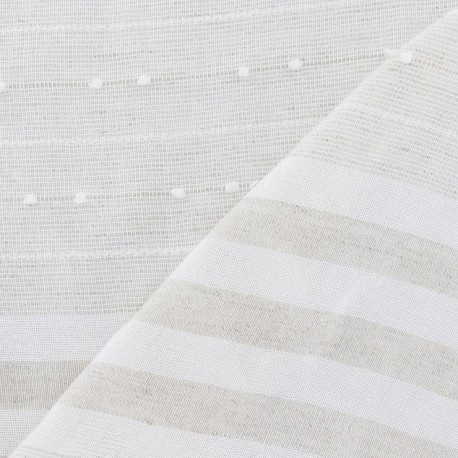 tissu gaze de lin plumetis rayures beige p le x 10cm ma petite mercerie. Black Bedroom Furniture Sets. Home Design Ideas