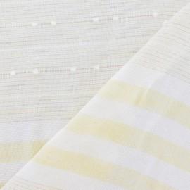 Tissu lin plumetis / rayure jaune x 10cm