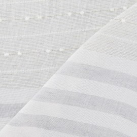 Tissu lin plumetis / rayure gris x 10cm