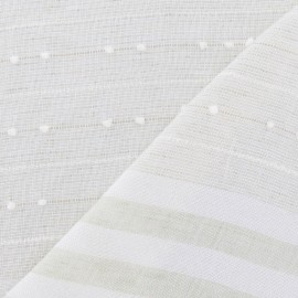 Plumetis / Stripes Linen gauze Fabric - Pale Green x 10cm