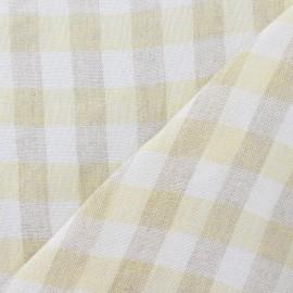 Tissu lin vichy jaune x 10cm