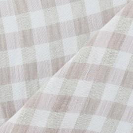 Vichy Linen Fabric - Pale Pink x 10cm