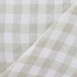 Tissu lin vichy vert x 10cm
