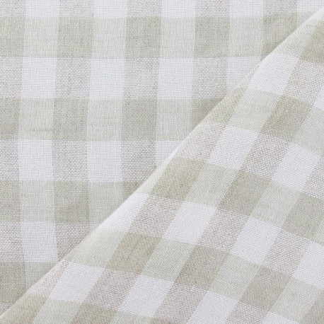 Vichy Linen Fabric - Pale Green x 10cm