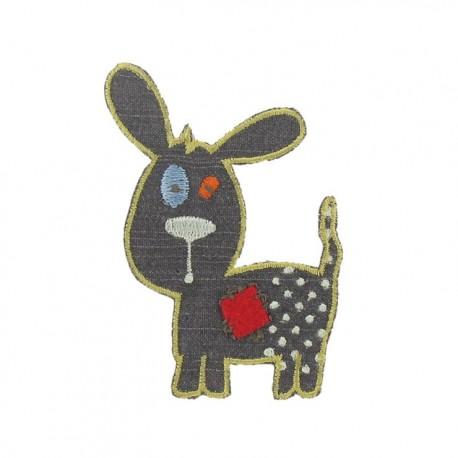 Dog iron-on applique - grey
