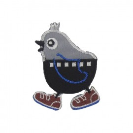 Bird with sneakers iron-on applique - multicolored