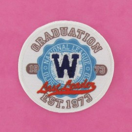 """Graduation 1973"" badge iron-on applique - multicolored"