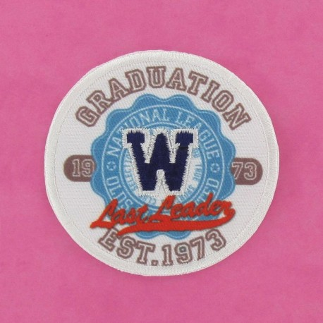 Graduation 1973 badge iron-on applique - multicolored
