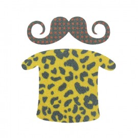 Spangled Moustache and vintage tshirt iron-on applique - yellow/anthracite grey
