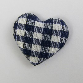 Gingham heart - navy