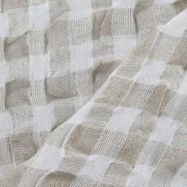 Tissu lin vichy gaufré beige x 10cm