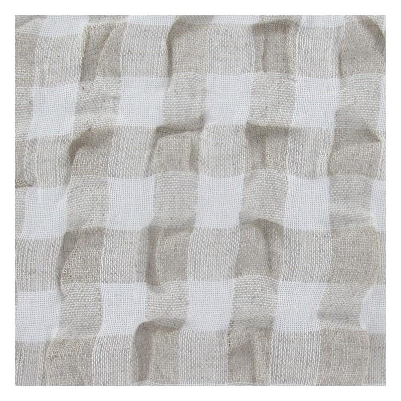 tissus pas cher tissu lin vichy gaufr beige p le. Black Bedroom Furniture Sets. Home Design Ideas