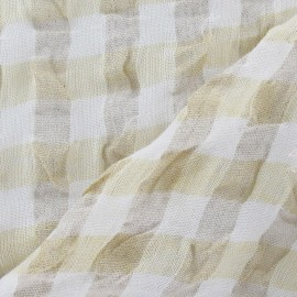 Vichy Embossed Linen Fabric - Pale Yellow x 10cm