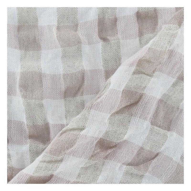 tissus pas cher tissu lin vichy gaufr rose p le. Black Bedroom Furniture Sets. Home Design Ideas